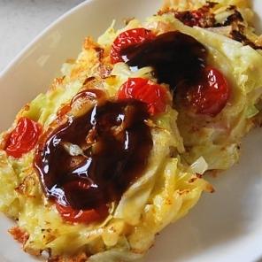 余りもので洋風トマトチーズお好み焼き