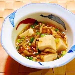 なめこと豆腐のめんつゆ煮