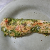 生鮭のバジルソース焼き