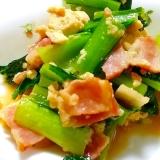 めんつゆで味付け簡単☆小松菜とハムの卵炒め♪