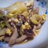 牛大和煮の缶詰と白菜としめじの卵とじ