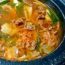 キムチと牛肉の韓国風鍋