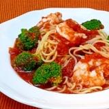 エビとブロッコリーの冷製トマトスパゲティ