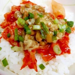 簡単ヘルシー(^^)納豆とキムチのダブル酵素丼♪