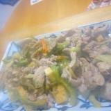 人参ゴーヤとオクラ厚揚げ豆腐の味醂醤油煮