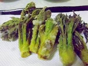 マヨネーズ風味♪タラの芽の天ぷら