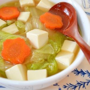 豚の角煮の茹で汁「remake」白菜と豆腐のスープ