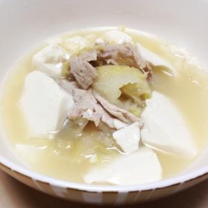 超簡単!!白菜と豚肉と豆腐の満腹スープ