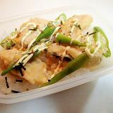 お弁当 南瓜の天ぷらとオクラののりたまマヨご飯