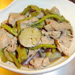 夏野菜の煮物♪ナスとインゲンとブタ味噌煮