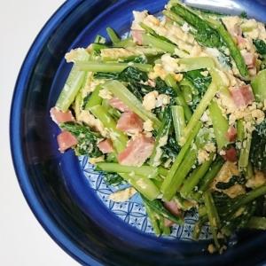 小松菜と厚切りハムの玉子とじ