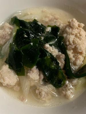 ひき肉とわかめの春雨スープ