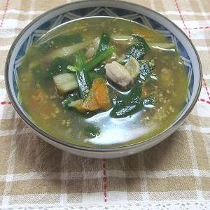 鶏ニラごぼうの具だくさん中華スープ