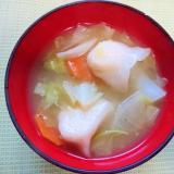 海老餃子入り味噌汁