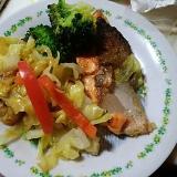 銀鮭と野菜のだしまろ酢焼き