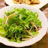 パクチーと水菜とハムのサラダ