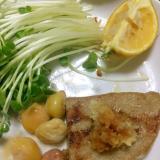 黒ハンペンと銀杏のごま油焼き@おろしポン酢。