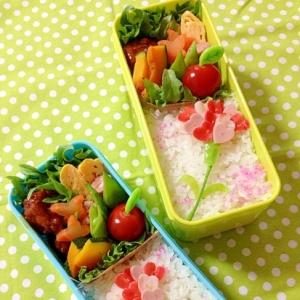 簡単キャラ弁☆ハートDEカーネーションのお弁当♪