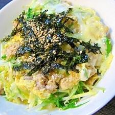 鶏のひき肉としゃきしゃき水菜の親子丼
