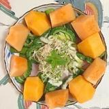 ほうれん草、ゴーヤ、ロースハム、柿、パインのサラダ