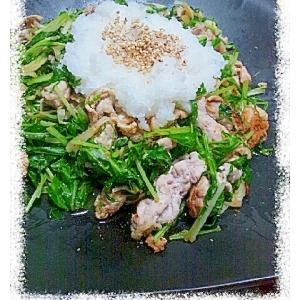 水菜と豚肉のごま炒め