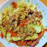 豚肉と人参とキャベツと玉葱のガーリックカレー炒め