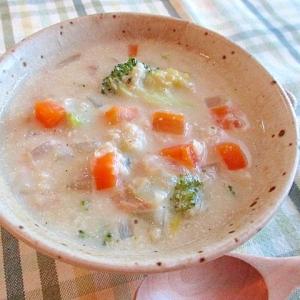 オートミールとツナと野菜のとろとろ豆乳スープ♪