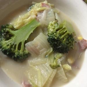 ブロッコリーと白菜のミルクスープ
