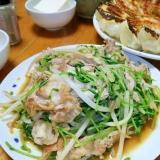 豆苗とモヤシde激安!肉炒め