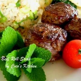 塩麹でやわらか☆牛肉ロールステーキ