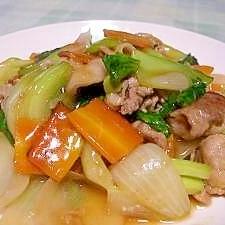 新玉ねぎと青梗菜の中華炒め