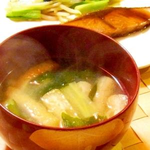 ブロッコリーの茎とわかめと油揚げのお味噌汁