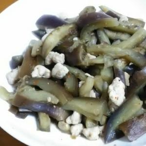ナスと鶏挽き肉のピリ辛炒め