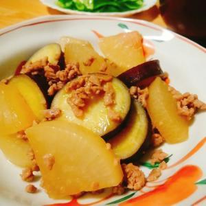 豚ひき肉とさつまいもと大根の煮物