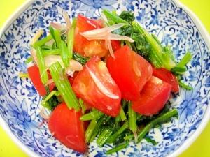 トマトとほうれん草みょうがの酢の物