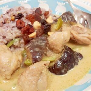 冷凍ナスで!鶏肉+ナス+ピーマンのグリーンカレー♪