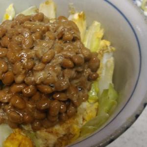 炒り卵とキャベツの納豆丼