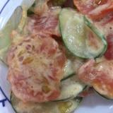 きゅうりとトマトのマヨ炒め