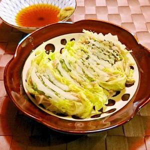 レンジで白菜と豚肉としその挟み蒸し