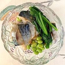 しめ鯖、枝豆、ヒトビロの和え物