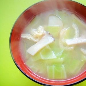キャベツとエリンギ油揚げの味噌汁