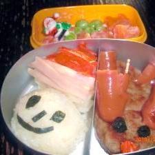 クリスマスに!サンタとトナカイ弁当。