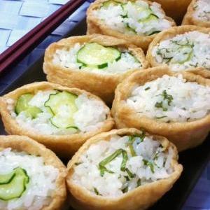 夏に☆きゅうりと大葉のいなり寿司