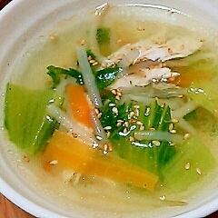 ヘルシー☆ササミともやしとチンゲン菜のスープ