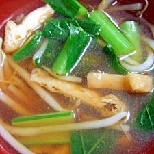 小松菜、もやし、油揚げのみそ汁