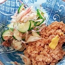 ひきわり納豆とキュウリの和風サラダ