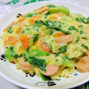 野菜たっぷりかつお菜入りコーンクリームパスタ