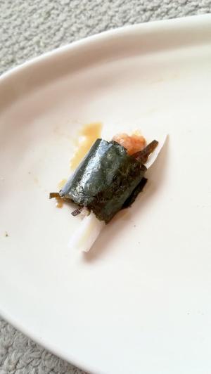 おつまみに♪白菜とねぎとろと塩昆布の海苔巻き