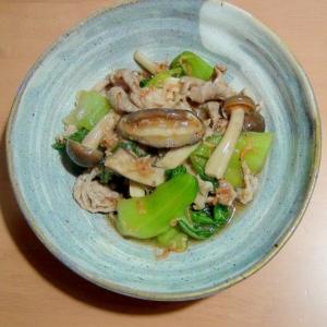 干しエビ入り♪チンゲンサイ&きのこ類の、中華風炒め