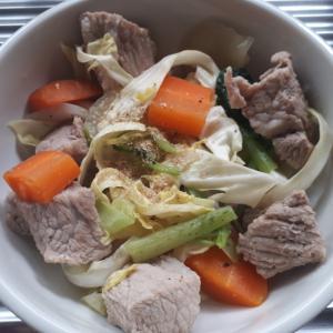 豚肩ブロックと野菜の塩ダレ炒め